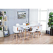 Anton Large White Wood Rectangle Dining Table And 6 White Sven Chairs