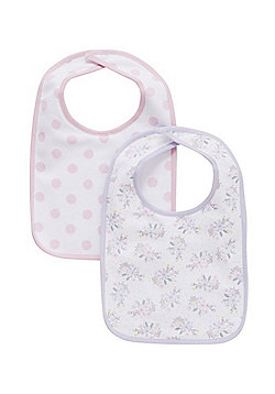F&F 2 Pack of Floral and Dot Print Feeder Bibs - Pink & Lilac