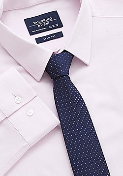 F&F Textured Easy Care Slim Fit Shirt with Tie - Pink