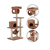 PawHut Cat Tree Kitten Scratch Climb Post Activity Center Play House 140cm