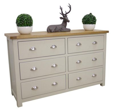 Aspen Painted Sage Grey Oak Chest Of Drawers 6 Drawer Wide