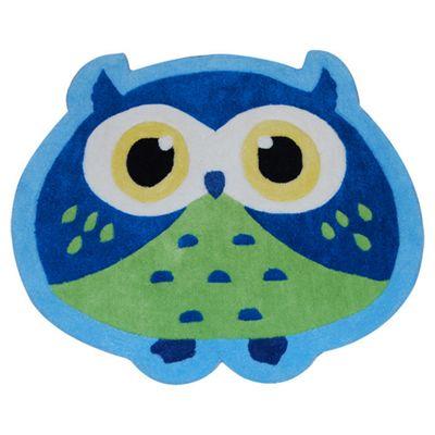 Oriental Carpets & Rugs Hong Kong Owl Blue/Green Tufted Kids Rug