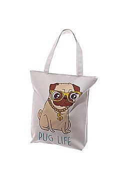 Puckator Pug Life Zip Fastening Cotton Tote Bag