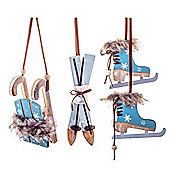 Winter Blue Skates, Sledge & Skis Wooden Hanging Christmas Tree Decorations
