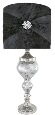 Silver Mercury Glass Chrome Curve Table Lamp With Black Velvet And Crystal Shade
