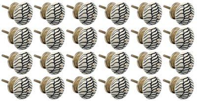 Ceramic Cupboard Drawer Knobs - Floral Design - Lines - Pack of 24