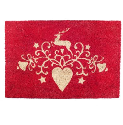 Decorative Christmas Design Red Coir Door Mat