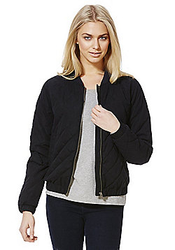 Jacqueline De Yong Quilted Bomber Jacket - Navy
