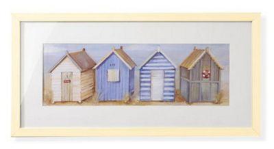 Beach Huts Framed Print 30cm x 60cm