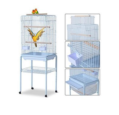Pawhut Large Metal Bird Cage w/ Breeding Stand Feeding Tray Wheels for Parrot Parakeet Macaw 52L x 41W x 148H (cm)