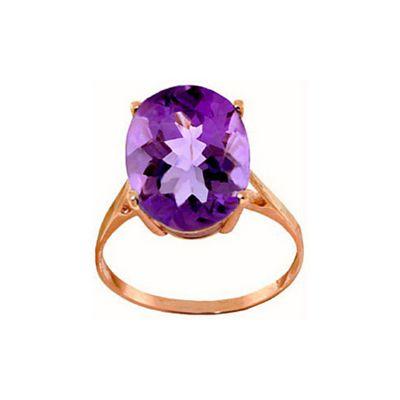 QP Jewellers 7.55ct Amethyst Valiant Ring in 14K Rose Gold - Size Y