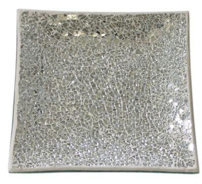 Silver Sparkle Mosaic Square Plate