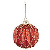 Red & Gold Harlequin Christmas Bauble