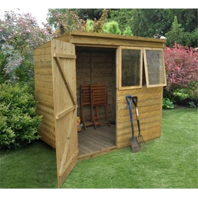 7 x 5 Rock Pressure Treated Shiplap Tongue and Groove Pent Shed 7ft x 5ft (2.14m x 1.52m)