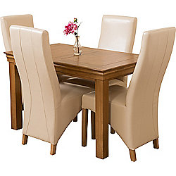 French Chateau Rustic Solid Oak 120 Cm Dining Table With 4 Ivory