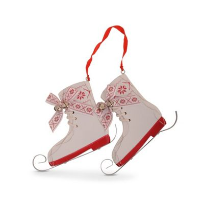 Buy Hanging Wooden Christmas Ice Skate Tree Decoration In White From