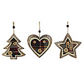 Wooden Tartan Christmas Tree Decoration, 6 pack