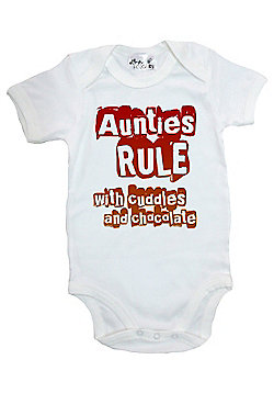 Dirty Fingers Aunties Rule Cuddles and Chocolate Baby Bodysuit - White