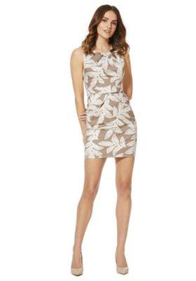 Mela London Leaf Print Tulip Dress Cream/Beige 10