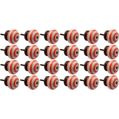 Nicola Spring Ceramic Cupboard Drawer Knobs - Stripe - Orange - Pack Of 24