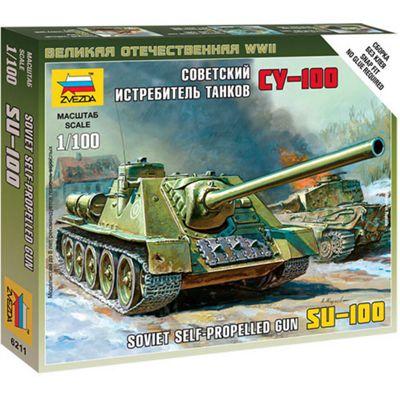 ZVEZDA 6211 SU-100 Soviet Self Propelled Tank 1:100 Military Model Kit