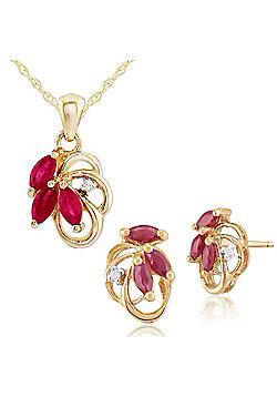 Gemondo 9ct Yellow Gold 0.45ct Natural Ruby & Diamond Floral Stud Earrings & 45cm Necklace Set