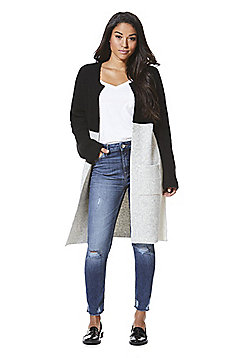 F&F Colour Block Long Line Cardigan - Grey