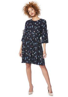 Vero Moda Floral Print Smock Dress Navy XS