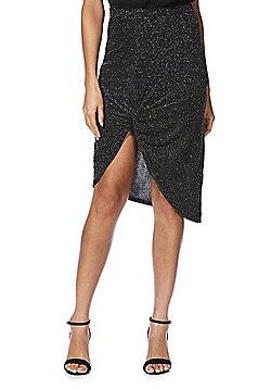 Izabel London Metallic Wrap Skirt - Black & Silver
