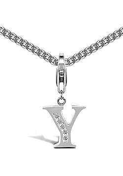 Sterling Silver Cubic Zirconia Identity Pendant - Initial Y - 18inch Chain
