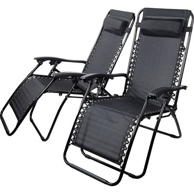 2 x Starmo Black Zero Gravity Reclining Garden Chair