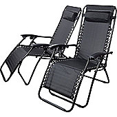 2 x Starmo Black Zero Gravity Reclining Garden Chair