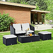 Outsunny 4 Pcs Rattan Sofa Set Furniture Garden Cushion Chair Footrest Wicker - Black