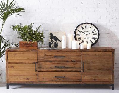 Abbey Industrial Oak Sideboard / Metal and Wood Large Cupboard
