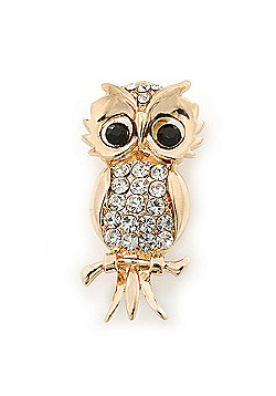 Gold Plated Crystal 'Owl' Brooch - 40mm Length
