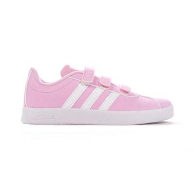 adidas VL Court 2.0 Junior Kids Girls Sports Trainer Shoe Pink - UK 1