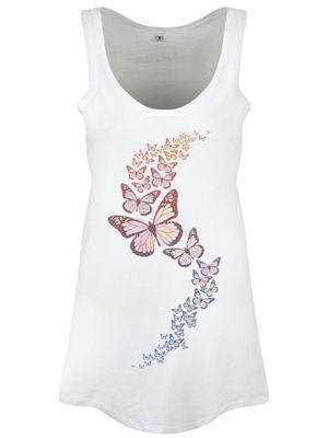 Butterfly Cascade Floaty White Women's Vest