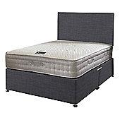 Happy Beds Bamboo Vitality 2000 Mattress Divan Bed Set Plain Headboard Charcoal