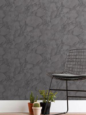 Marblesque Plain Charcoal Grey Marble Wallpaper Fine Decor FD42276