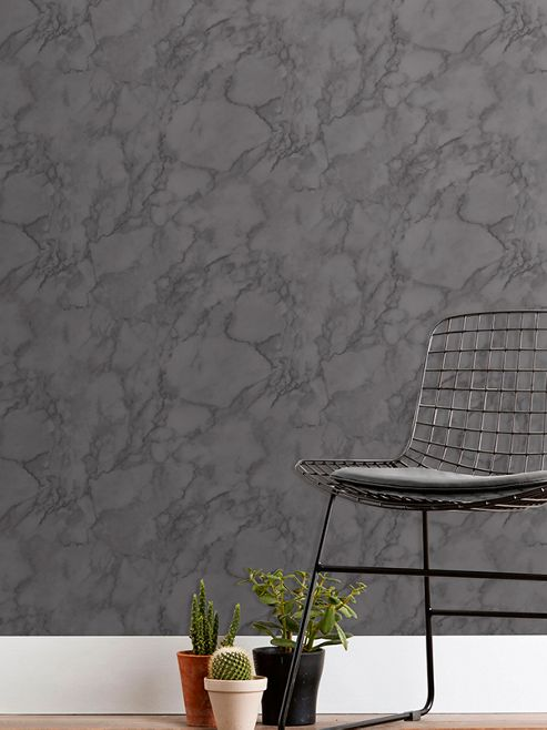 Marblesque Plain Charcoal Grey Marble Wallpaper Fine Decor FD42276