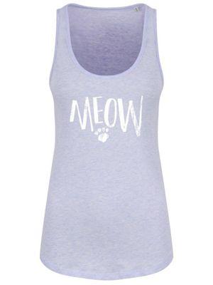 Meow Women's Cream Heather Floaty Tank Vest, Lilac