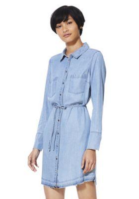 F&F Tencel® Shirt Dress Light Wash 14