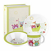 Children's The Owl and The Pussy Cat Melamine Breakfast Set, Children's Melamine Sets, Children's Breakfast Sets