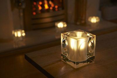 Auraglow Luxury Frosted Polished Glass LED Tea Light Candle Holders - Amersham