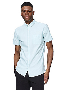 F&F Button Down Collar Short Sleeve Oxford Shirt - Aqua