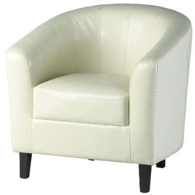 Provincial Home Cream Faux Leather Tempo Tub Chair