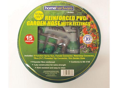 Home Gardener Reinforced Green Hose 15M+Fittings/Spray
