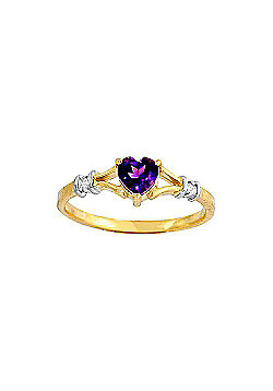 QP Jewellers Diamond & Amethyst Heart Ring in 14K Gold