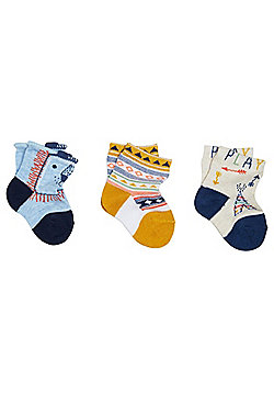 F&F 3 Pair Pack of Lion Face Ankle Socks - Multi