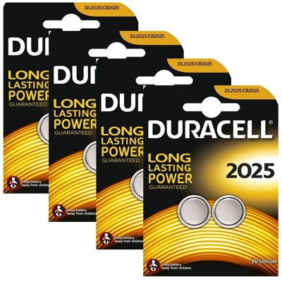 8 x Duracell CR2025 3V Lithium Coin Cell Battery 2025, DL2025, BR2025, SB-T14